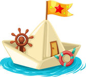 Paper boat with flag, lifebuoy, rudder and door — Stock Vector