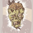 Angry zombie character with eye in it's mouth. Sepia halloween poster. - Imagen vectorial