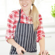 Beautiful young woman chopping cucumber - Stock Photo