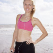 Beautful female jogger on beach - Foto de Stock