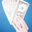 Female hand holding dollar bills - Stock Photo