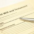 Last will and testament paper with pen - Stock Photo
