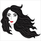 Girl with windblown hairs. — Stock Vector