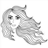 Girl with windblown hair — Stock Vector