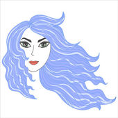 Girl with windblown hair — Stock Vector
