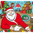 Stock Vector: SantClaus reading messages