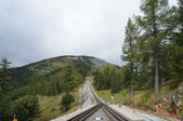 Austria, rails of the rack railway to Schneeberg-Mountain — Stock Photo