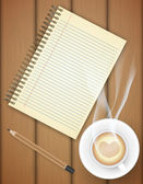 Blank notebook with coffee cup on table- Vector — Stock Vector