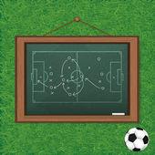 Realistische tafel auf hölzernen hintergrund zeichnen ein fußballspiel — Stockfoto