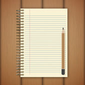 Open notebook page on wooden background - Vector illustration — Stock Vector