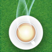 Coffee cup against grasses background. — Stock Photo
