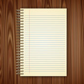 Open notebook page on wooden background - illustration  — Stock Photo