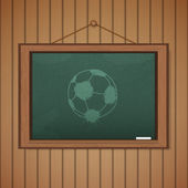 Realistic blackboard on wooden background drawing a soccer game  — Wektor stockowy