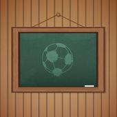 Realistische tafel auf hölzernen hintergrund zeichnen ein fußballspiel — Stockvektor