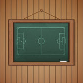 Realistic blackboard on wooden background drawing a Stadium socc — Vettoriale Stock
