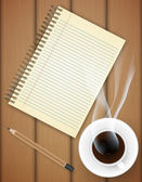 Blank notebook with coffee cup on table- Vector — Vecteur