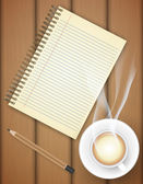 Blank notebook with coffee cup on table- Vector — Stock vektor