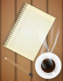 Blank notebook with coffee cup on table- Vector — Vettoriale Stock