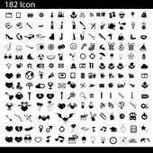 Vector black 182 universal web icons set on gray — Stock Vector