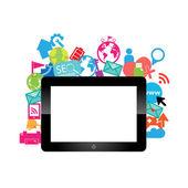 şablon tasarım dijital tablet fikri ile sosyal ağ simgeleri ba — Stok Vektör