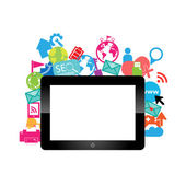 Template design digital tablet idea with social network icons ba — Vector de stock
