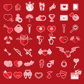 Sevgililer günü nesneleri, aşkın simgesi ayarla — Stok Vektör
