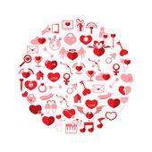 Template Circle Valentine's day, Love icon  — Stock Vector