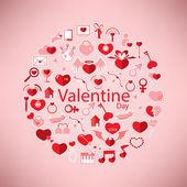 Template Circle Valentine's day, Love icon  — Vector de stock