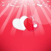 Plumes flèche et le coeur de la saint-valentin backg de ciel., rouge — Vecteur