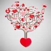 The Tree Heart Valentine's day, Love icon. — Stok Vektör