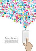 Idea de teléfono de diseño de la plantilla con fondo de iconos de redes sociales — Foto de Stock