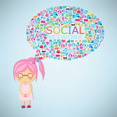 Girls think social network buzz words and icons forming the shap — Stock Vector
