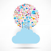 Cloud Social network background with media icons — Stock Vector