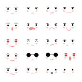 Set of faces with various emotion  — Stock Vector