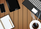 Tavoletta digitale con la tazza di caffè e il telefono sul tavolo-vettore — Vettoriale Stock