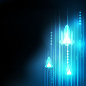 Abstract Blue rocket technology communicate background, vector i — Vetorial Stock