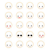 Set of faces with various emotion  — Vector de stock