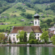 Church on the lake in Switzerland. — Stockfoto