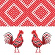 Embroidery rooster — Stock Vector