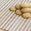 Royalty-Free Stock Photo: Freshly made sesame seed cookies on bamboo mat