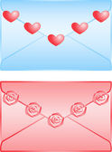 Cute love letters isolated on white background — Stock Vector