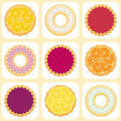 Seamless pattern with fruit pies and tarts — Stock Vector