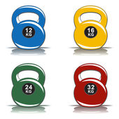 Colored kettlebells of various weights with reflection on white background — Stock Vector