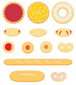 Collection of delicious pastry isolated on white background — Stock Vector
