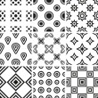 Collection of black and white geometric seamless patterns — Stock Vector