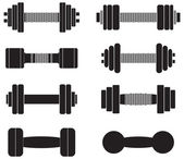 A collection of dumbbells isolated on white background — Stock Vector