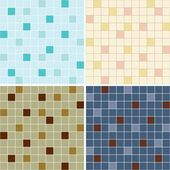 Collection of mosaic tile seamless patterns — Stock Vector
