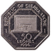 50 Sierra Leonean leones coin, 1996, reverse, isolated on white background — Stock Photo