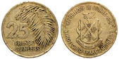 25 Guinean franc coin, both sides, 1987, isolated on white background — Stock Photo