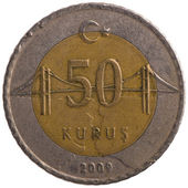 50 Turkish kurus coin, 2009, back — Stock Photo